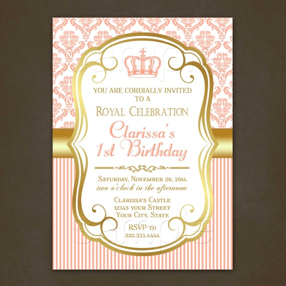 Princess Coral Damask Birthday Invitations Printable File – Damask Birthday Invitations