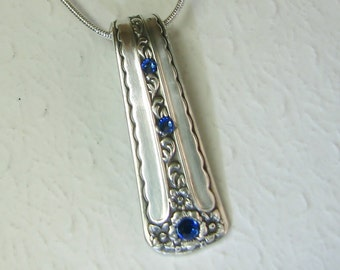 Spoon Necklace Pendant, Silverware Jewelry, Sapphire Blue Crystals, 'Spring Bouquet' 1954