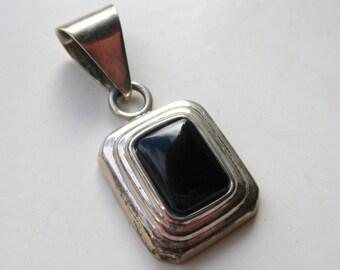 Vintage Sterling Silver & Black Onyx Modernist Necklace Pendant