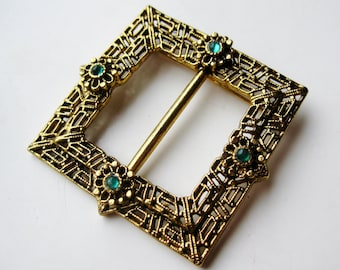 Vintage Jeweled Gold Victorian Revival Buckle Brooch Pin