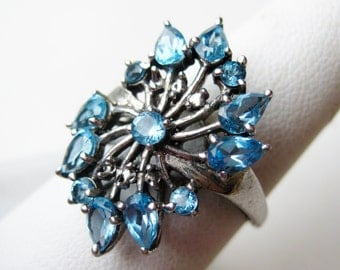 Vintage Ring Art Deco Aquamarine Sterling Silver Cocktail Ring size 7.5