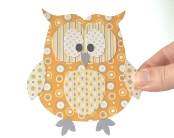 50% Off - Owl Printable - Yellow and Grey Layered Paper Craft Embellishment, Paper Piecing