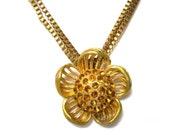vintage sunflower necklace, pendant, amber rhinestones, antique goldtone brass, boho, mid century