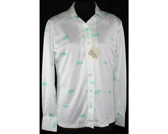 Size 10 70's Shirt - Mint Green Rainy Day Novelty Print 1970s Top - Raindrops & Umbrellas - Medium - Large - Long Sleeved - Bust 42- 33161