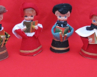 mid century carolers set of 4 made in japan 4 inches tall 2 girls 2 boys freestanding