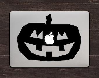 Jack-o-lantern Apple Vinyl MacBook Decal BAS-0237