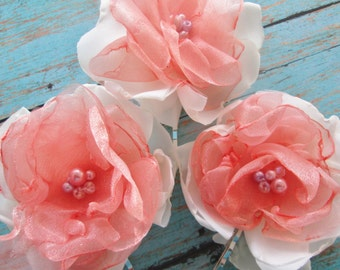 Bridal hair flowers Fabric flower bobby pins. Coral and ivory wedding hair accessory. Bridesmaids, flower girls hair pins.