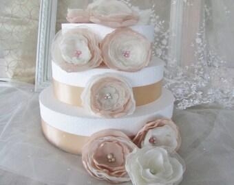 DIY wedding decor, party decorations fabric flower embellishments, shabby chic fabric flowers