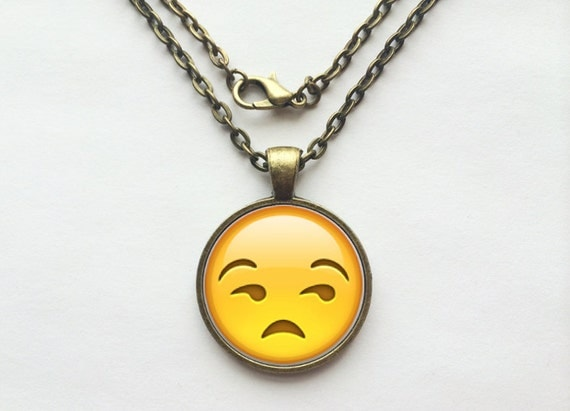 Side Eye Face Emoji Necklace or Keychain