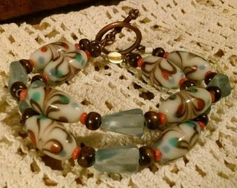 Double Strand Brown, Red, Blue and White Bracelet