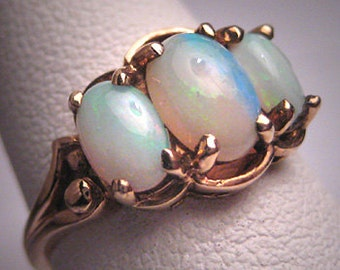 Antique Australian Opal Wedding Ring Band Victorian Vintage Art Deco 1930