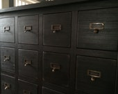 Card catalog/library chest in a distressed dark walnut stain
