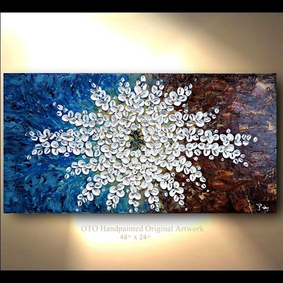 """Made to Order 72"""" Original Flower Painting Abstract Landscape Artwork Heavy Textured Modern Contemporary art Made to Order by OTO"""