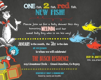 5X7- Dr. Seuss Themed- Baby Shower Invitation- High Resolution Digital File