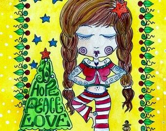 Instant Download Yoga Christmas Card Art Zen Peace