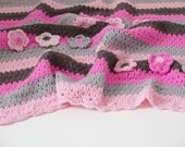 Christmas baby quilt Crochet blanket Baby girl pink afghan , crochet baby blanket , stroller blanket , baby shower ideas , baby afghan
