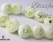 Silk Flowers - 10 CREAM Ranunculus Buds - Artificial Flowers, Wedding Flowers, Flower Crowns