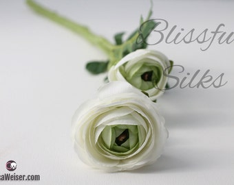 Artificial Flowers - Small CREAM White Ranunculus Spray on WATERPROOF Stem - Silk Flower Spray, Wedding flowers