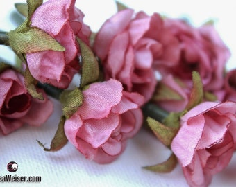 Artificial Flowers - 15 Tiny MAUVE Mini Roses - Dry Look SMALL Flowers, Flower Crowns