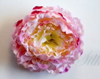Silk Flowers - One Jumbo Pink Peony Accented with Fuchsia  - 5.5 Inches - Artificial Flowers