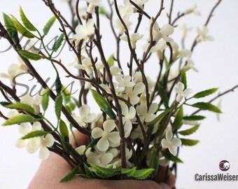 PLASTIC Cream WAX Flower Blossom Branches - Artificial Flowers, Flower Crown, Halo, Wedding, Millinery, Fairy Garden