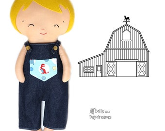 Dungarees Overalls Pattern Double Pack Doll Clothes PDF Sewing Tutorial