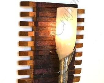 """ELEGANCE - """"Santa Fe"""" - Wine Barrel Stave & Bottle Sconce - 100% RECYCLED"""