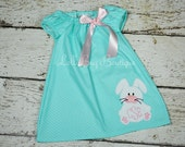 Personalized Aqua Polka Dot Easter Dress with Shoulder Bow, Monogram, Bunny Applique, Toddler Girls 9 months to 6Y