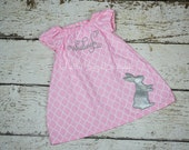 Personalized Pink Quatrefoil Peasant Dress, Glitter Bunny Applique, Personalized with Name or Monogram, Toddler Girls 9 months to 6