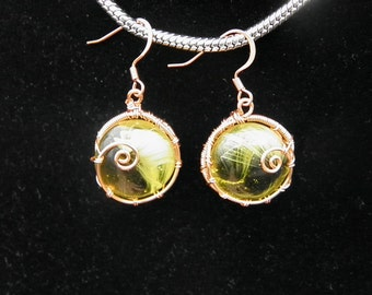 Yellow swirl with Copper wire Earrings