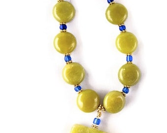Serpentine Stone and Blue Glass Seed Bead Necklace, Artisan Design