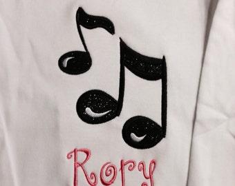 Music Note Shirt, Music Birthday Shirt, Music Note Birthday, Sparkly Music Note, Personalized Music Note Shirt, Music Birthday, Music Lover