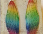 Large Rainbow Iridescent Fairy Wing Sterling Silver Earrings