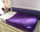 Changing Pad Cover - Grey/White Chevron and Deep Purple Minky