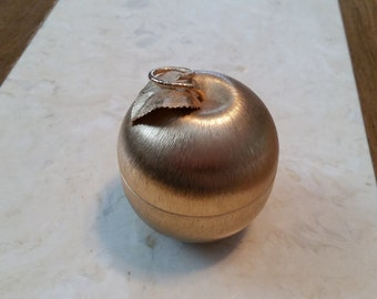 Vintage Napier Gold Tone Metal Apple Lighter 1960s
