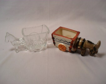 Lot of 2 Donkey Collectibles Occupied Japan Candy Holder or Dispenser