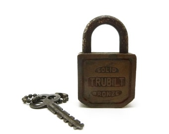 Solid bronze Trubilt padlock and key, vintage lock