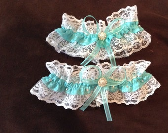 wedding garter white or ivory and Light turquoise  blue for bride set of two
