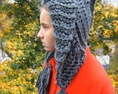 Hooded Hat, Handmade, Crochet, Tasseled, Warm and Cozy, Elfin, Charcoal Quality Yarns, One of a kind.