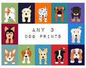 Dog Prints. Dog nursery art prints. SET OF any 3 PRINTS. Modern, puppy pictures from paintings for kids, baby child room decor by WallFry