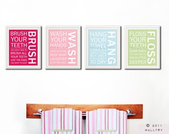 Bathroom art prints. Bathroom Rules. Kids bathroom wall quotes. Wash Brush Floss Flush. Typography. SET of ANY 4 prints by WallFry