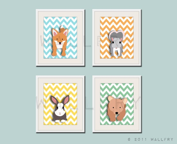 Woodland nursery art prints. SET of ANY 4 chevron prints of forest friends critters . Fox, bear, rabbit or squirrel for baby & kids playroom