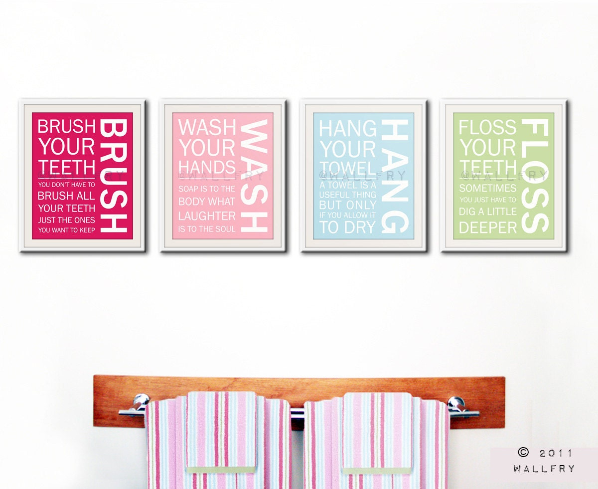 Bathroom art prints bathroom rules kids bathroom wall for Bathroom decor etsy
