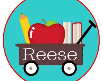 School wagon apple, pencil, books back to school or another year down Iron on