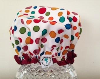 Premium Quality Luxury Spa Shower Cap: Dr Seuss Spots on Top (for a child)