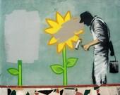 Banksy Print  - Painting Flowers  - Multiple Paper Sizes