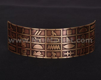 Pretty Brass Hand Made Egyptian Tribal Hieroglyphic Cuff Bracelet