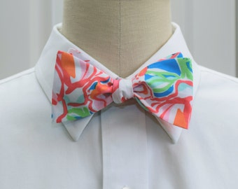 Men's Bow Tie, blue, coral Lucky Charms Lilly print, wedding bow tie, groom bow tie, prom bow tie, groomsmen gift, wedding party attire,
