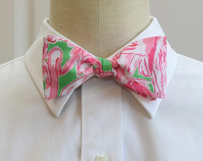 Men's Bow Tie, Pink Colony flamingo Lilly print, groomsmen gift, wedding bow tie, groom bow tie, prom tuxedo accessory, Florida bow tie