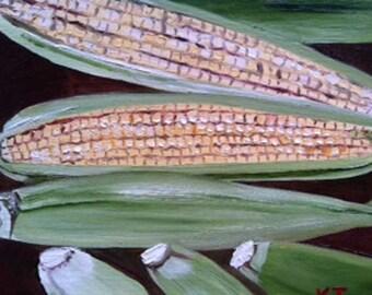 HALF OFF SALE | Caddo Parish Corn | corn vegetable oil painting | realism art | food and cuisine yellow farm country kitchen art